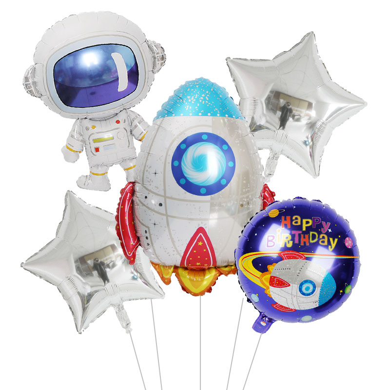 Outer Space Party Astronaut Rocket Ship Balloons Foil Galaxy/Solar System Theme Party Boy Kids Birthday Party Decoration Favors