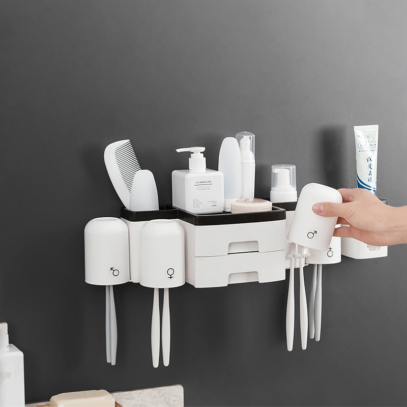 Bathroom Accessories Set Toothbrush Holder Automatic Toothpaste Dispenser Holder Bathroom Storage Rack With Double Drawers