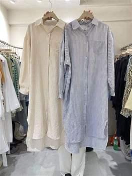 Toppies Women Long Sleeve Striped Dresses Casual Midi Dresses Irregular Hem Single Breasted robe femme