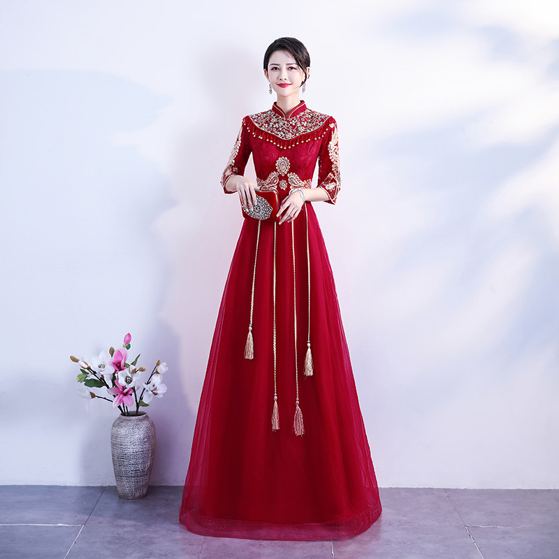 Robe De Soiree Red Formal Evening Dress Stand Collar Half Sleeve Lace A-line Evening Gown Vintage Party Prom Long Dresse