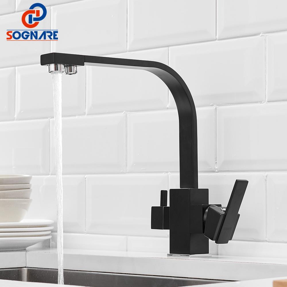 Noir carré robinets de cuisine 360 degrés Rotation 3 voies filtre à eau robinet robinets d'eau en laiton massif cuisine évier robinet mélangeur d'eau - 2