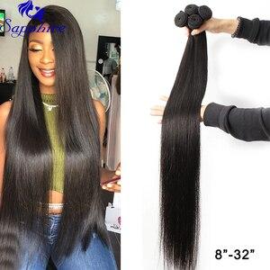 Image 2 - Sapphire Human Hair Bundles With Closure 2# 4# 99J Straight Weave Bundles 3 PCS With 2*4 Closure Human Hair Bundles with Closure