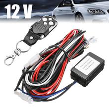 12V High Power 120W LED Work Light Bar Wiring Harness Remote Controller Wire Cable Switch Wiring Kit with Battery vehicle1 set led light 1 to 3 wiring harness relay fuse kit 80a 12v for 12v car off road wiring harness kit loom light bar