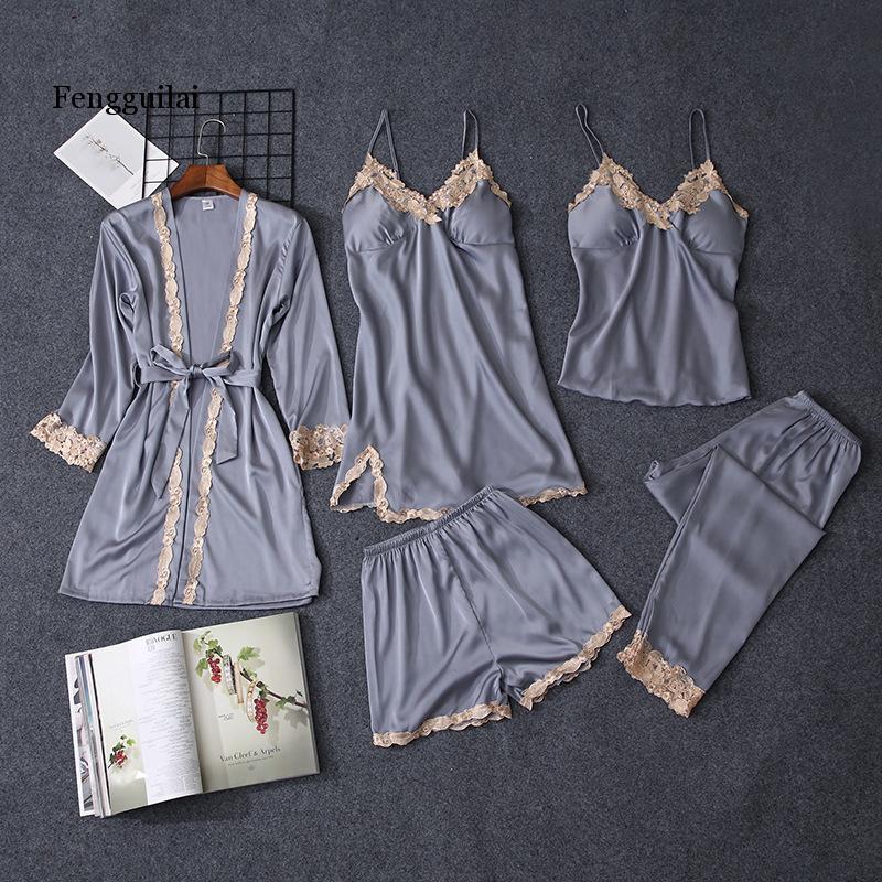 Pajama Sets Women pajamas nightgown Silk like sleepwear for women  pajamas set 5pcs/set pajamas lingerie