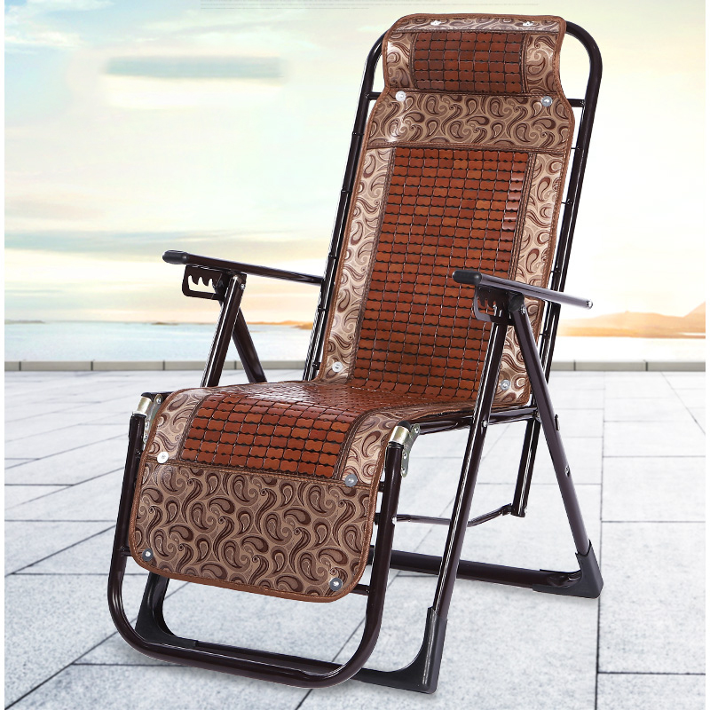 Multi-functional Folding Leisure Lounge Chair Beach Back Bamboo Mat Cool Chair For The Elderly With Siesta Balcony Rattan Chair
