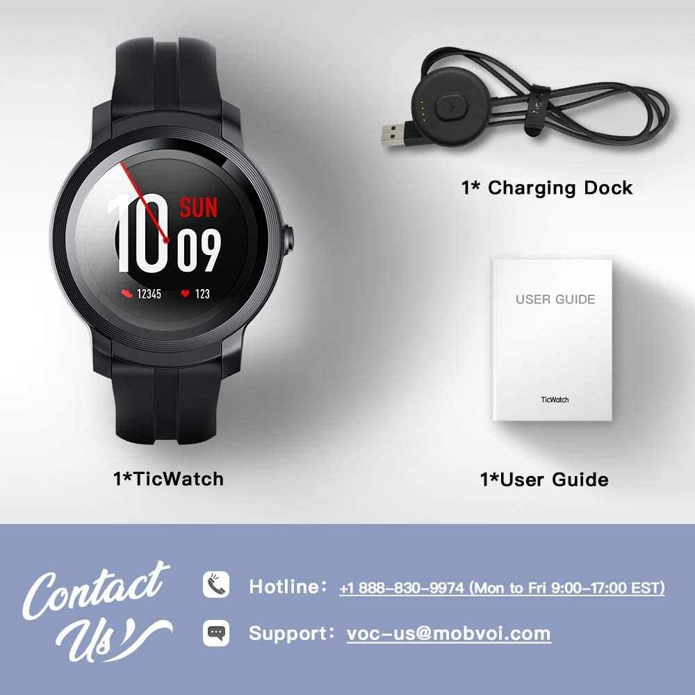 Ticwatch e2 usar os pelo google smart watch com built-in gps ios & android compatível 5atm impermeável longa vida da bateria