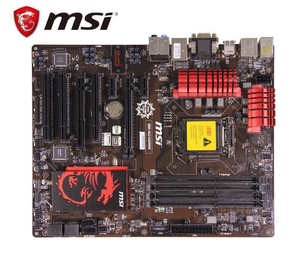 original motherboard MSI B85 G43 GAMING LGA 1150 DDR3 boards 32GB USB2.0 USB3.0 I3 I5 I7 B85