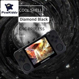 Image 2 - Powkiddy RG350M שחור כף יד משחק קונסולת 3D משחקי מתכת פגז קונסולת פתוח מקור מערכת 3.5 אינץ IPS מסך רטרו Ps1 ארקייד