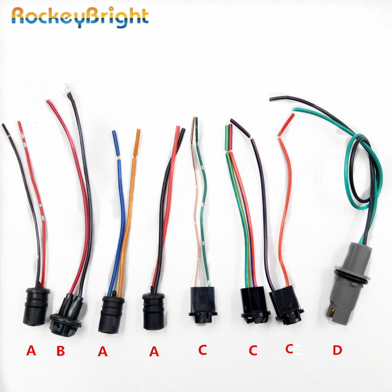 Rockeybright 2-4pcs T10 W5W LED Bulb Holder Socket Cable T10 194 LED Interior Lamp Bulb Adapter Socket Wire Harness Connector