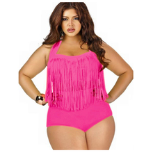 Swimwear Bikini Two-Pieces Sexy High-Waisted Plus-Size Solid-Color Tassels Backless Maillot-De-Bain
