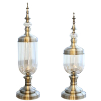 New 2 Pcs European Retro Glass Metal Vase Modern Artist Residence Decorative Artificial Flower Wedding Vase Gold Metal + Glass,
