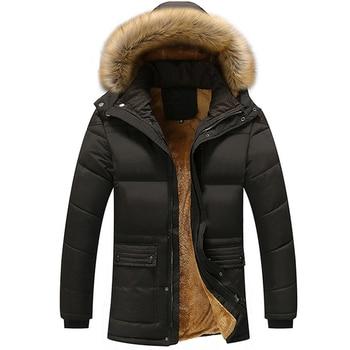 Winter Men's Jackets Thick Fleece 5XL Fur Collar Hooded Men's Coats Casual Jacket Male Outerwear Windproof  T63