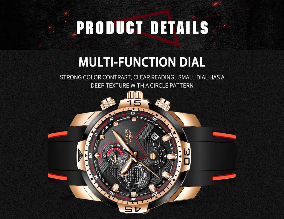 Hc72ecf0e1318420aa1204826f086e62f9 2020 LIGE Sport Watch Men Brand Luxury Chronograph Silicone Strap Quartz Mens Watches Waterproof Clock Relogio Masculino+Box
