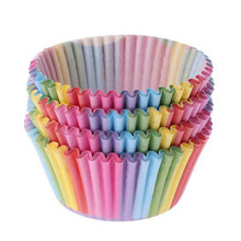 100Pcs/lot Rainbow Cupcake Paper Cups Cake Forms Cupcake Liner Baking Muffin Box Cup Case Party Tray Cake Mold Decorating Tools baking tool cake dough batter cream dispenser cupcake funnel batter separator valve measuring cup muffin cups optional cake mold