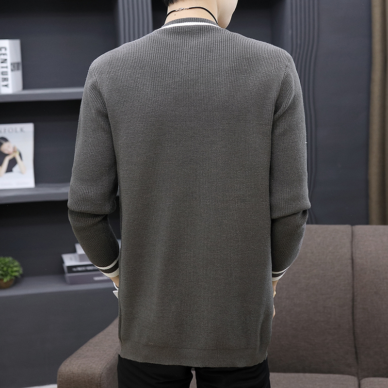 Autumn New Men Cardigan Thin Coat 2020 Male Slim Gray Striped Knitting Sweaters Street Casual V-Neck Design Warm Outerwear M-3XL