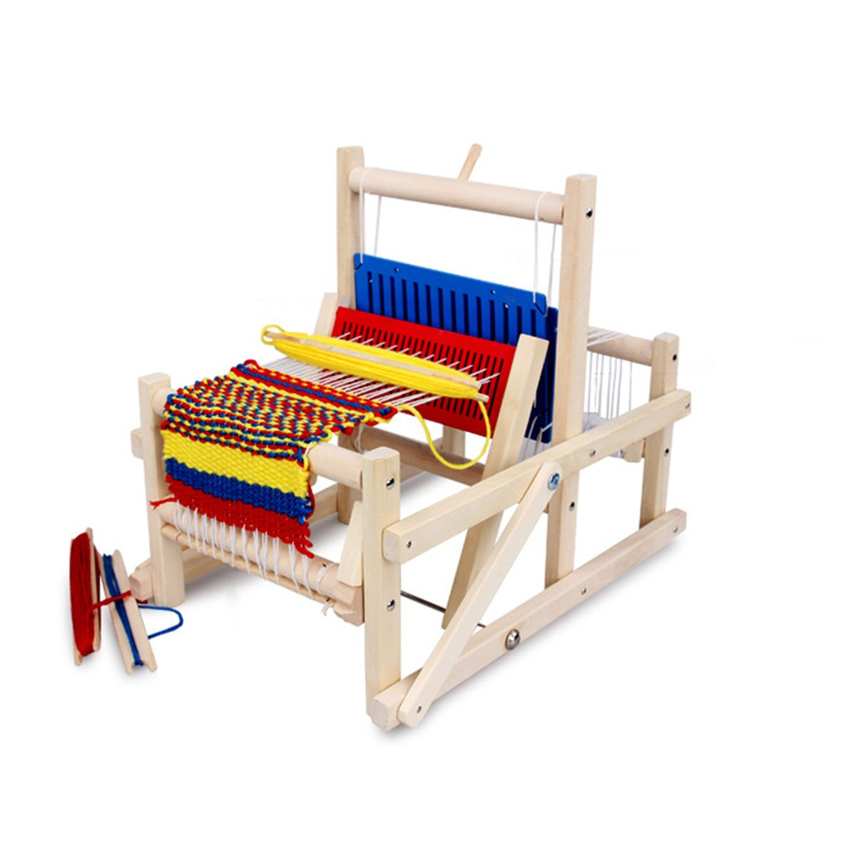Traditional Wooden Weaving Loom Educational Toy Craft Box Knitting Hooking Set