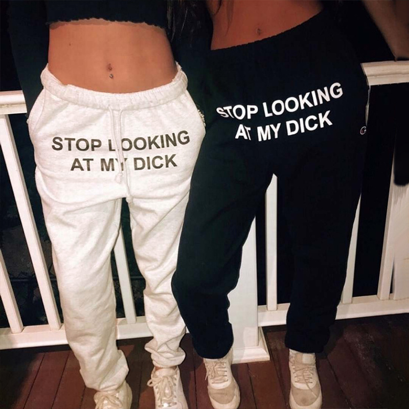 Fashion Printed Letter STOP LOOKING AT MY DICK Sweatpants With Pockets Black Grey High Waist Drawstring Loose Casual Trousers