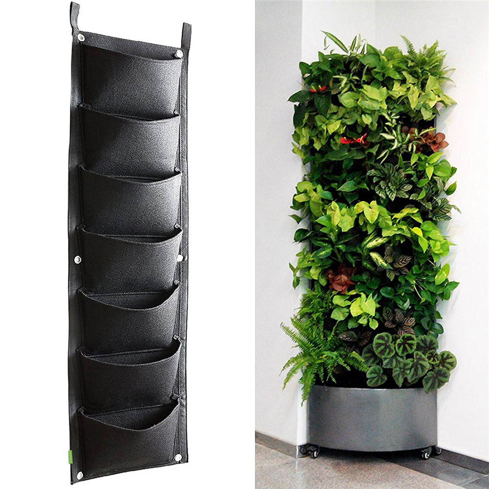 4/7 Pockets Wall Mounted Flower Pots Garden Vertical Hanging Planting Bags Pouch Green Field Pot Felt Balcony Wall Drcor