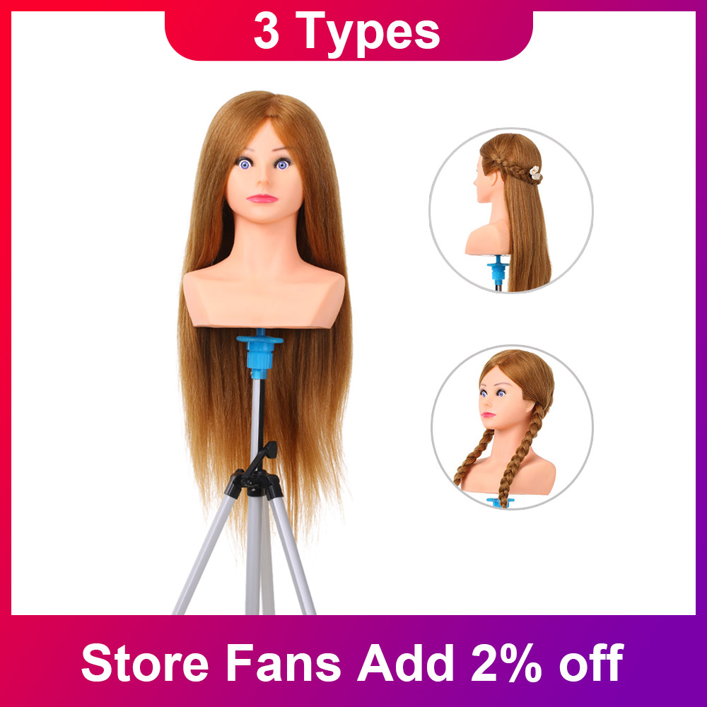 100% Human Hair Mannequin Head For Women Hairstyles Professional Practice Head Styling Tools For Hairdresser Barber Hair Salon