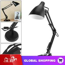 Black E27 Flexible Swing Arm Desk Lamp Office Home Reading Table Light with Light Base Clamp Mount Support 360 Degree Rotation