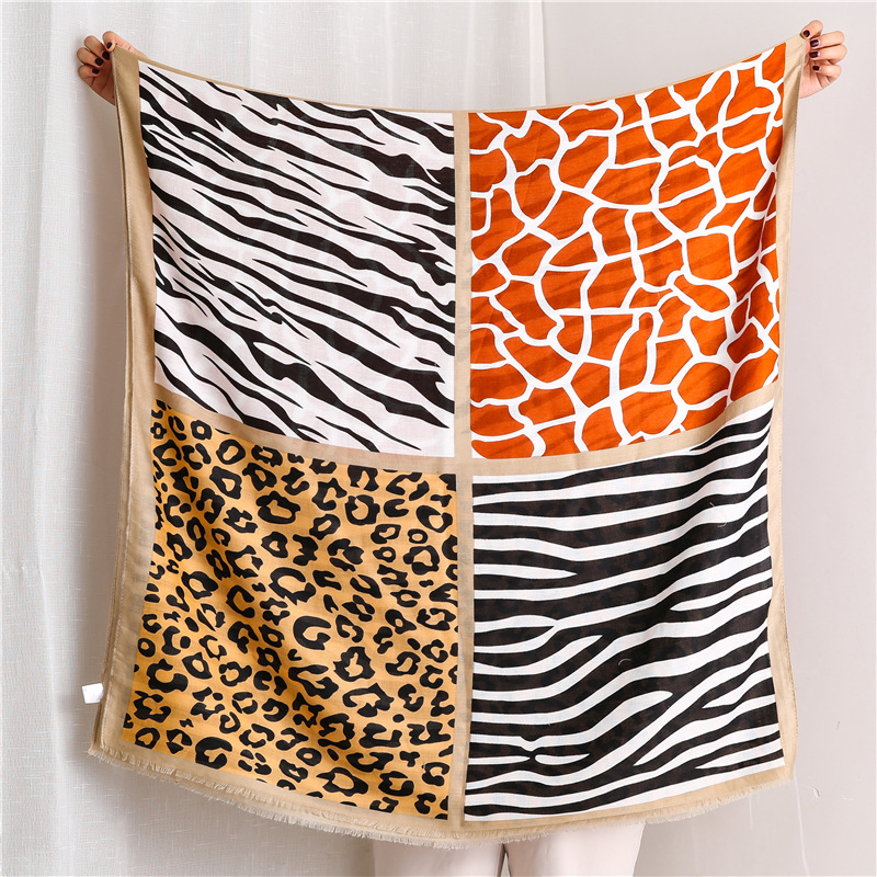 Autumn And Winter Fashion Women's Cotton Material Silk Scarves Lady Sunscreen Leopard Print Shawl New Style Beach Cotton Scarf