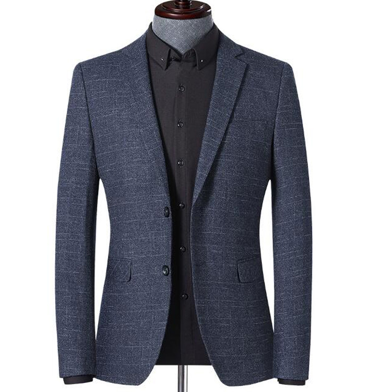 Men's Spring Autumn Blazer Jacket Youth Blazer Grid Suit Jacket Slim Fit Blazers Coat Business Casual Overcoat