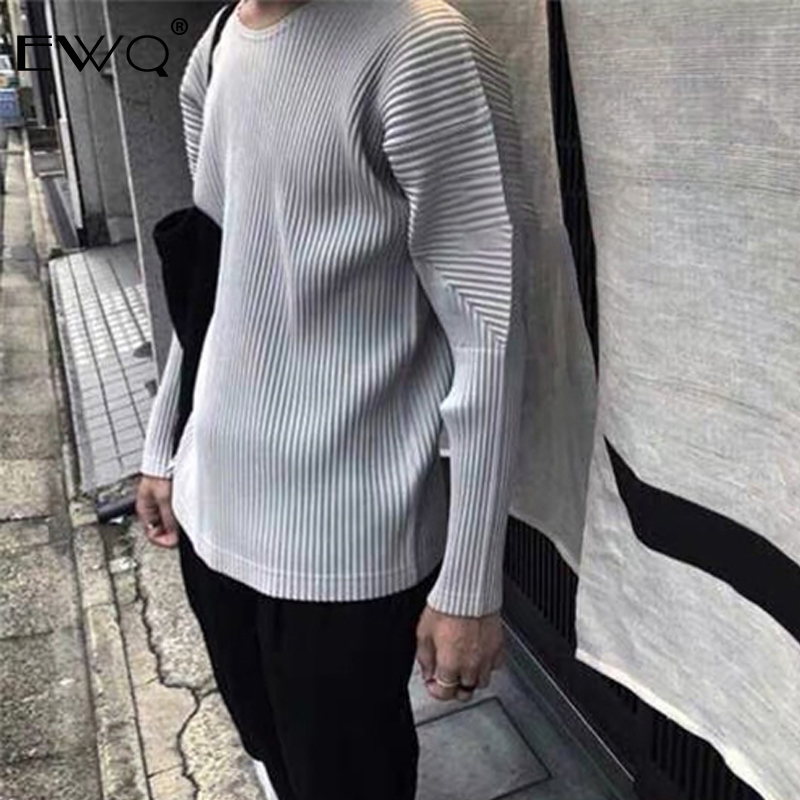 EWQ / Men And Women Loose Causal Pleated T-shirt 2020 Spring Summer New High Quality Tops For Male Fashion Clothes Jk021 9Y476