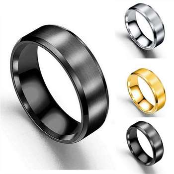 Men Jewelry Titanium Steel Ring Frosted Wiredrawing Rings sd008 image