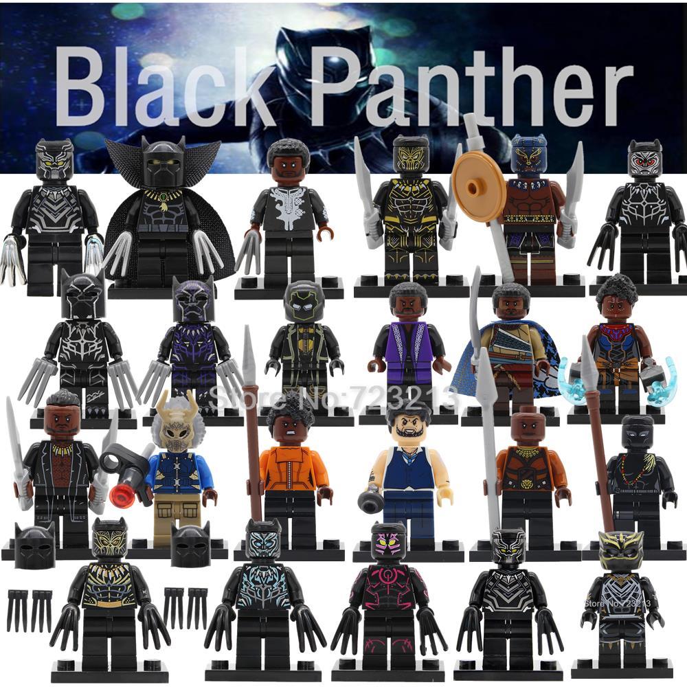 Black Panther Super Hero Figure Marvel T'Challa Wakanda Illuminati Avengers Building Blocks Set Model Bricks Toys Legoing