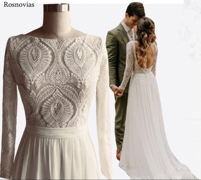 Bohemian Long Wedding Dresses 2020 Scoop Long Sleeves Backless Chiffon Skirts Chic Rustic Lace Bridal Gowns Vestido De Noiva