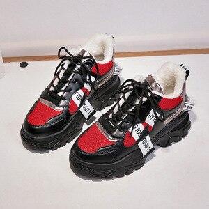 Image 4 - WFL/женские кроссовки на платформе; Не сужающийся книзу массивный папа; Обувь на толстой нескользящей подошве; Модная обувь для женщин; Спортивная обувь