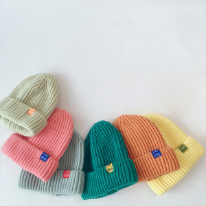 Outono inverno cor sólida bebê malha chapéus crianças meninas meninos gorros bonés quente macio casual chapéus para crianças