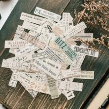 70 pçs bilhete retro vintage inglês washi com adesivo decoração diário plano adesivos para scrapbooking etiqueta estacionária suprimentos
