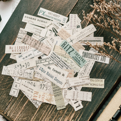 70Pcs Retro Ticket Vintage English Washi With Adhesive Decoration Diary Plan Stickers For Scrapbooking Label Stationary Supplies