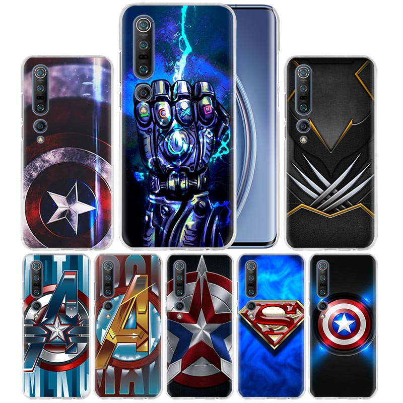 Captain Shield Logo Marvel Case For Xiaomi Mi Note 10 Pro 5G 9T 9 CC9 A3 A2 8 Lite 6X Poco X2 F2 Hard PC Phone Capas Fall