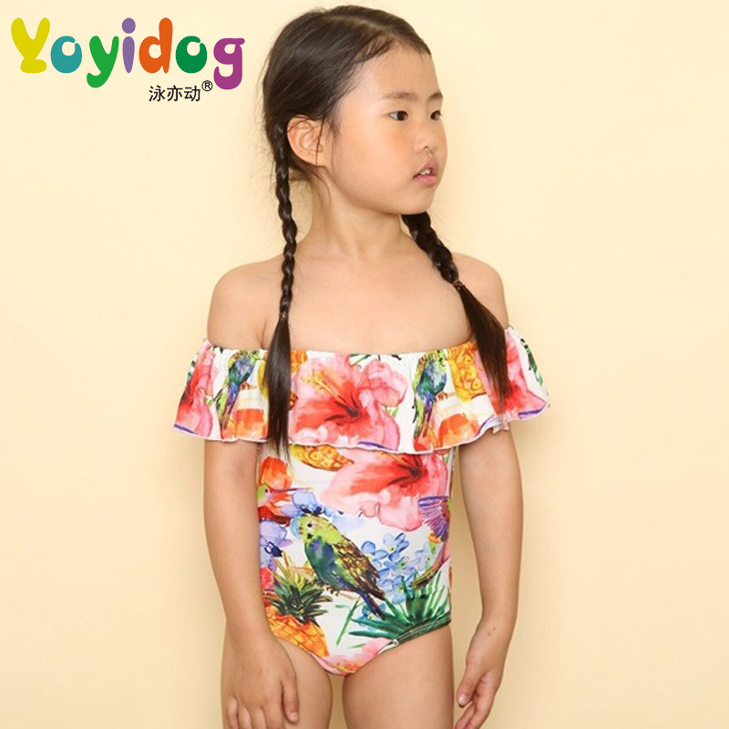 New Style GIRL'S Swimsuit Simple Ultra-stretch Off-Shoulder Flounced Printed One-Piece Triangle Swimwear Wholesale