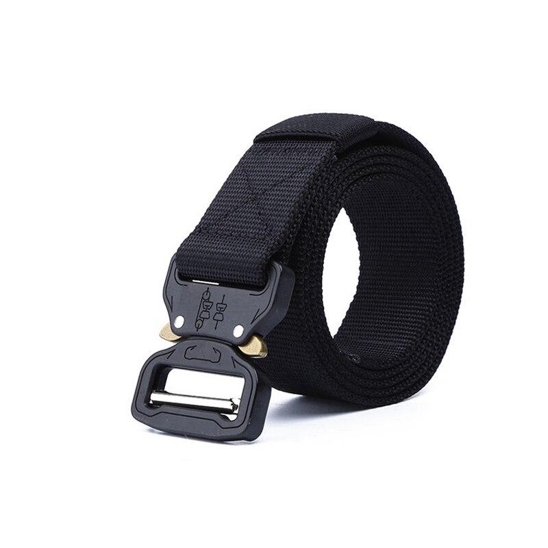 Тактический ремень для спорта на открытом воздухе, нейлоновые поясные ремни с аксессуарами для охоты, армии, тяжелая тренировочная Боевая Мужская Военная - Color: Black belt