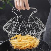 Pliable vapeur rinçage souche acier inoxydable friture panier passoire tamis maille crépine cuisine outils de cuisson accessoires Cocina 2