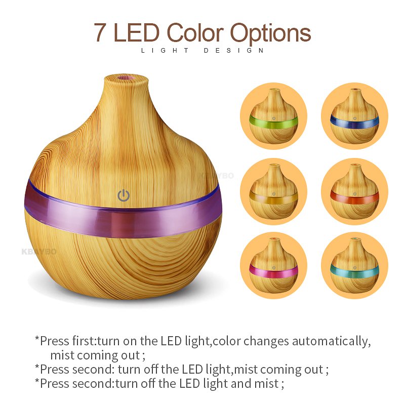 300ml USB Wood Ultrasonic Air Humidifier Electric Aroma Air Diffuser Essential Oil Aromatherapy Cool Mist Maker For Home Baby