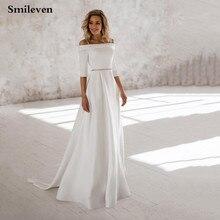 Smilevenราคาถูกชุดแต่งงาน2020ปิดไหล่Bohoเจ้าสาวVestido De CasamentoตุรกีGownsแต่งงาน
