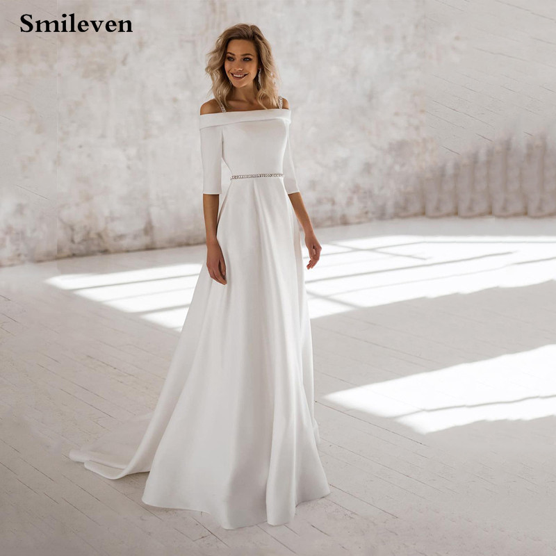 Smileven Cheap Wedding Dress 2020 Off The Shoulder Boho Bride Dresses vestido de casamento Turkey Wedding Gowns in Wedding Dresses from Weddings Events