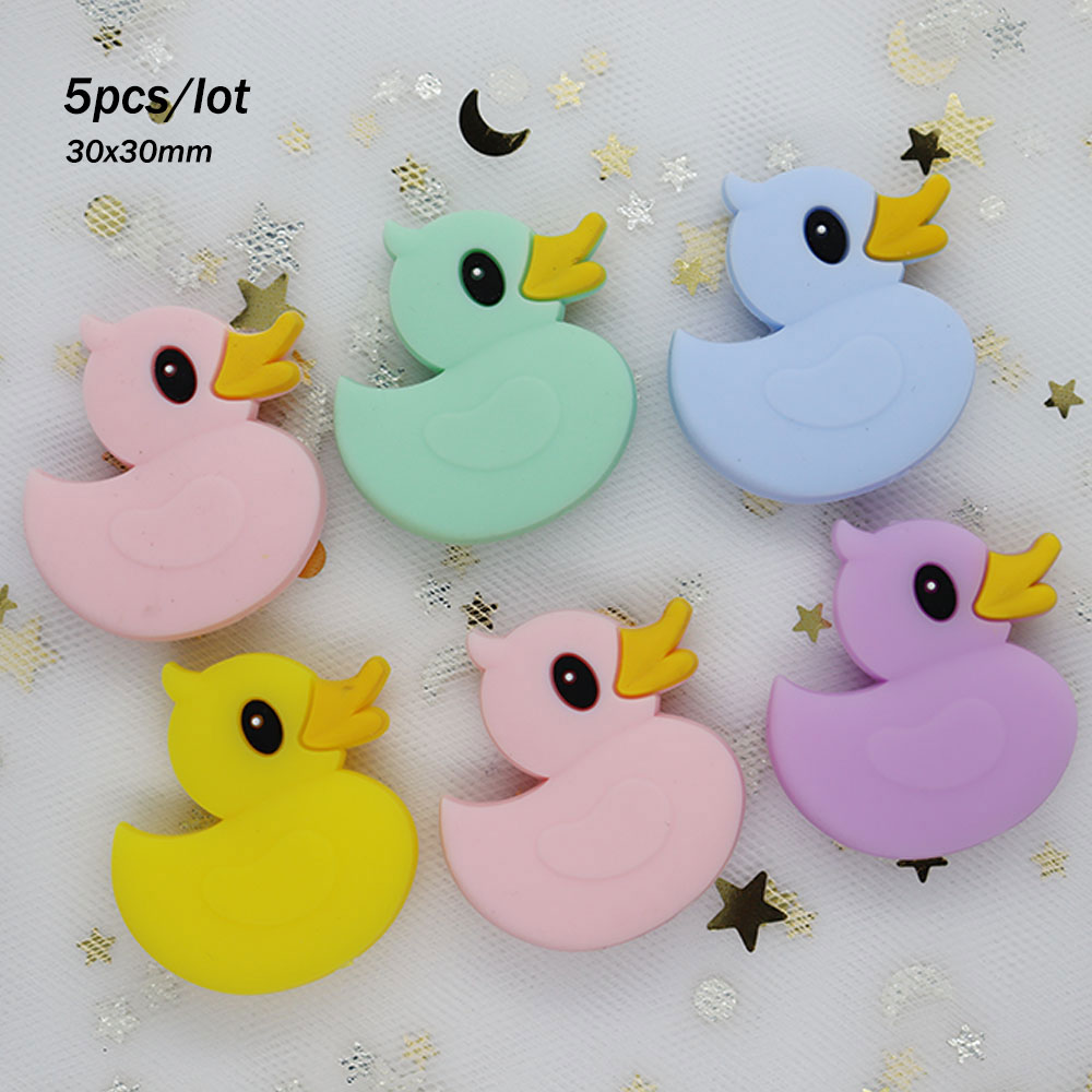 5Pcs/lot Owl Duck Perle Silicone Beads Rodent Siliconen Kralen Teething Beads For Jewelry Making Necklace Pendant Baby Products