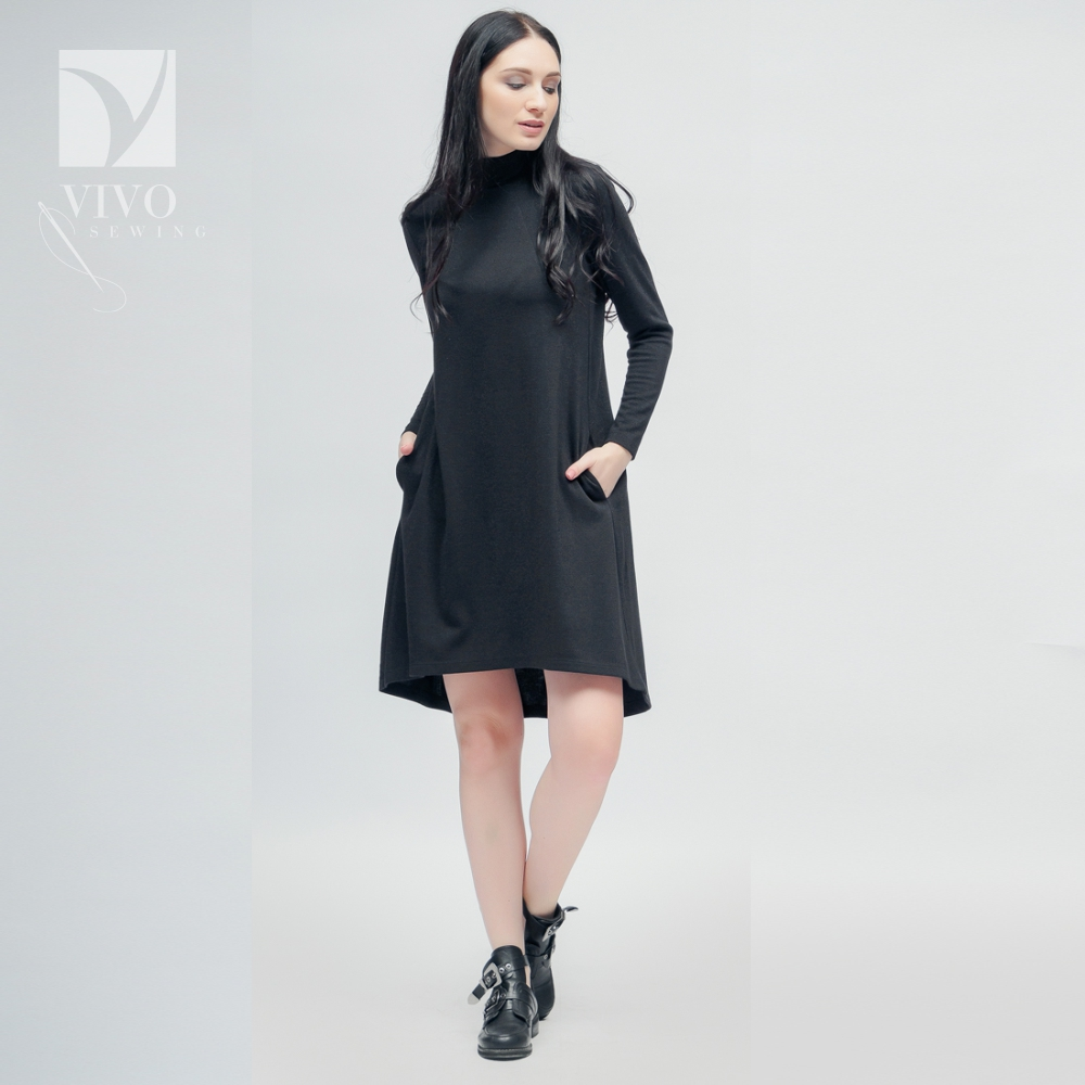 Dresses Vivostyle 2s063 for women for females clothing women's dress Polyester Black Spring Casual black casual bodycon round neck hollow design mini dress