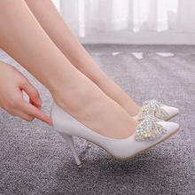 คริสตัล Queen ยุโรปรองเท้าแต่งงานหญิงเจาะ Rhinestone คริสตัลโบว์รองเท้า Stiletto ชี้ปั๊มแฟชั่นรองเท้าส้นสูง