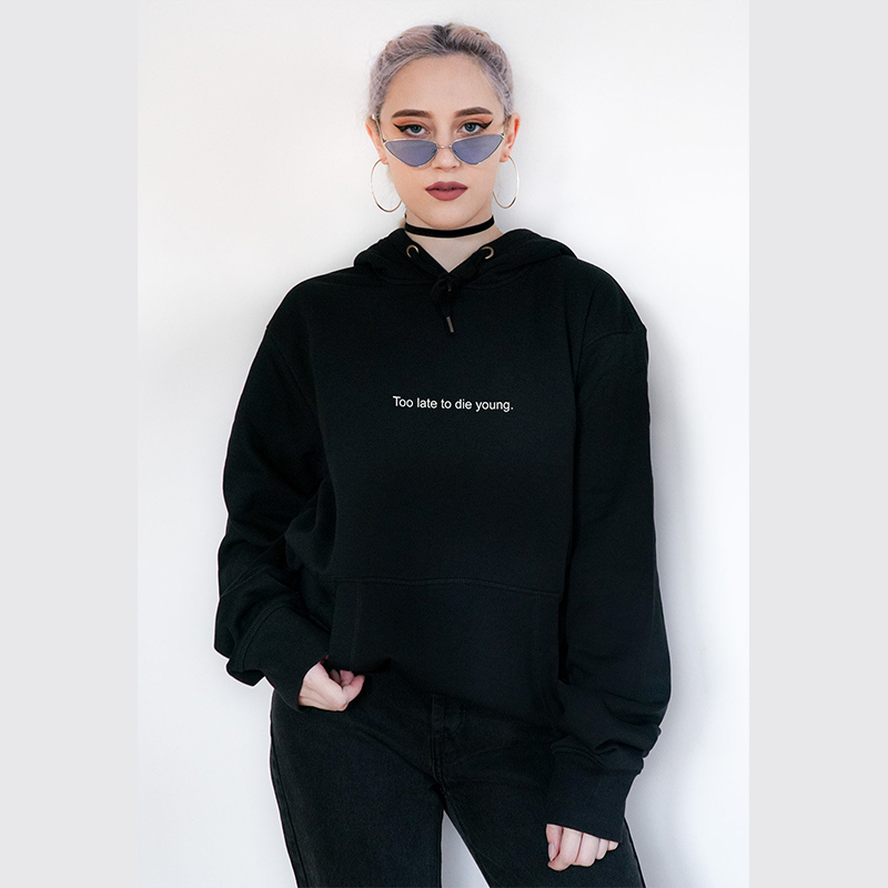 Too Late To Die Young Letter Women Black Hoodies Kawaii Top Korean Style 90s Girl Lady Pullover Vintage Trendy Outfits Drop Ship