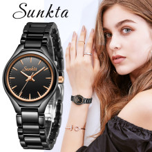 SUNKTA Fashion Casual Simple Rose Gold Full Black Ceramic Women Watches Waterproof Quartz Watch Women Girl Dress Bracelet+Box(China)