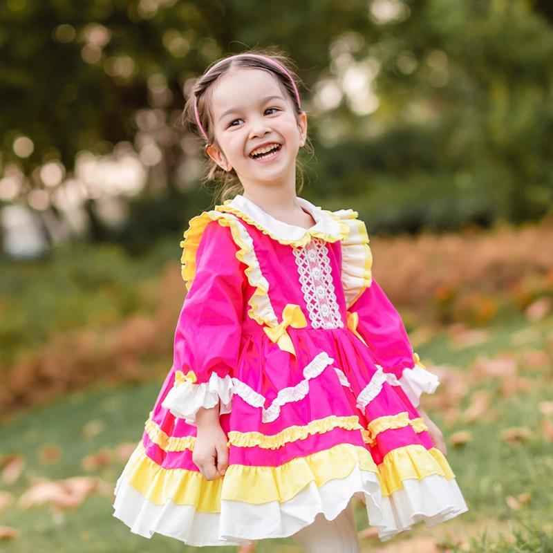 Abito da ballo turco spagnolo Vintage a maniche lunghe per bambina autunno inverno rosa rosso Lolita abito da principessa per bambine