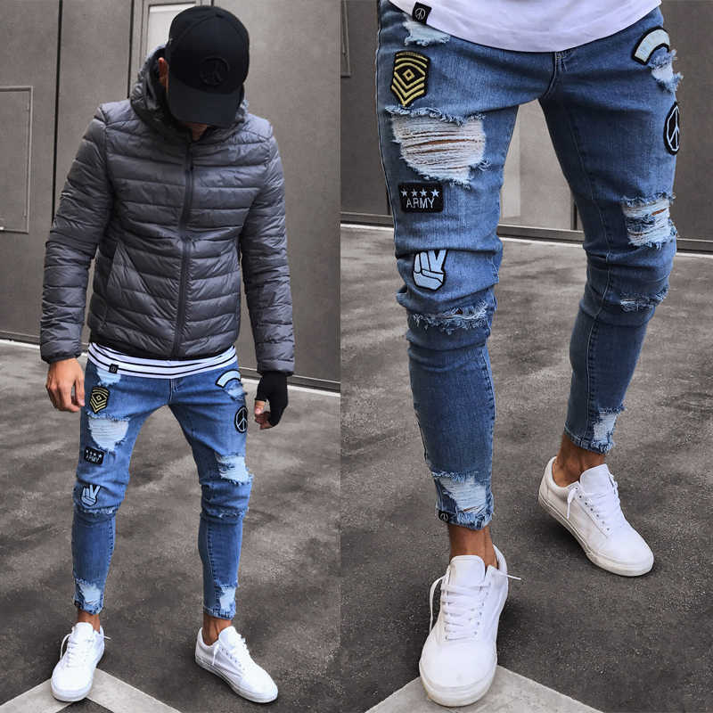 Jeans Men Frayed Printing Embroidery Biker Stretchy Ripped Skinny Jeans Destroyed Taped Slim Fit Denim Pants Jeans Aliexpress