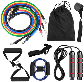 13pcs Pull Rope Resistance Bands Set with Jump Rope Door Anchor Ankle Straps Handles 8-Shaped stretch Band for Home Gym Workout resistance band 11pc set with door anchor ankle straps foam handles