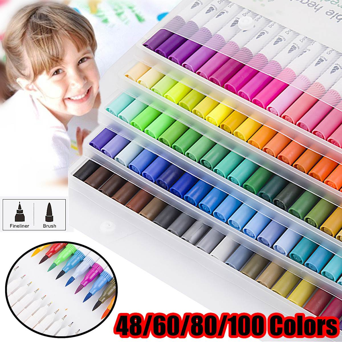 Us 12 19 40 Off 100 Colors Dual Tip Brush Color Pen Art Markers Pen Touchfive Copic Markers Pen Watercolor Fineliner Drawing Painting Stationery On